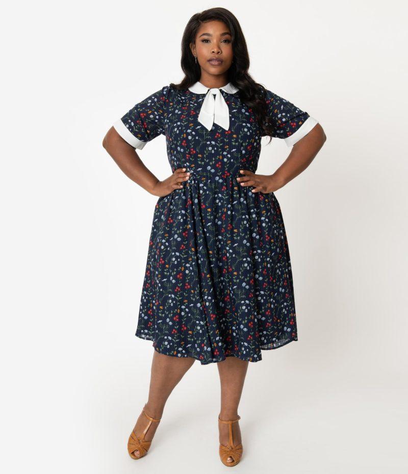 robe vintage grande taille annees 50 fleurs