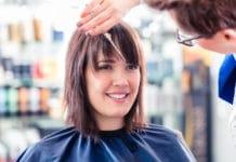 Frange effilée coiffeur