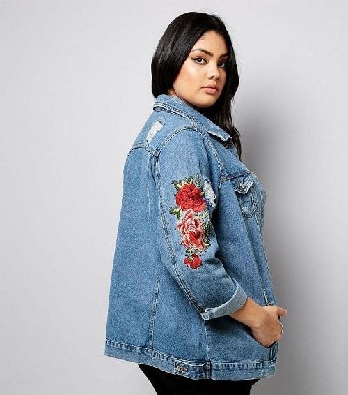 veste en jean longue femme ronde